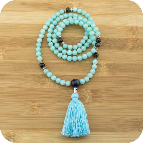 Amazonite Mala Beads Necklace with Blue Tigers Eye - Meditative Wisdom