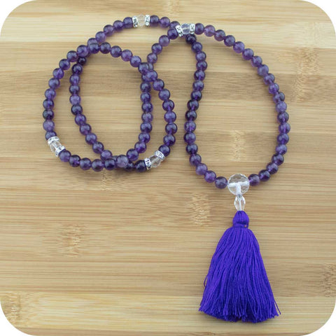 Amethyst Meditation Mala Beads with Quartz Crystal - Meditative Wisdom