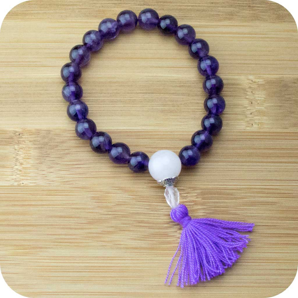Amethyst Mala Beads Bracelet with Rose Quartz - Meditative Wisdom