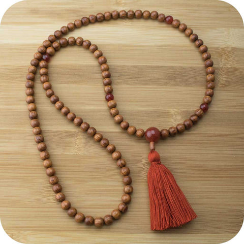 Meditation Mala Necklace with Bayong Wood & Carnelian - Meditative Wisdom