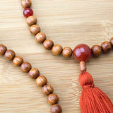 Bayong Wood Meditation Beads Necklace with Carnelian