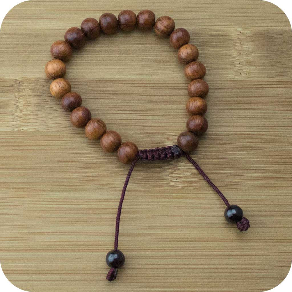 Bayong Wood Yoga Bead Bracelet with Red Garnet - Meditative Wisdom