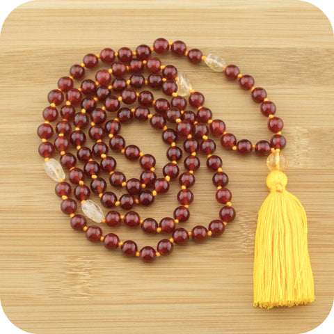 Hand Knotted Carnelian Mantra Beads with Citrine - Meditative Wisdom
