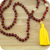 Carnelian Meditation Mala Beads with Citrine - Meditative Wisdom