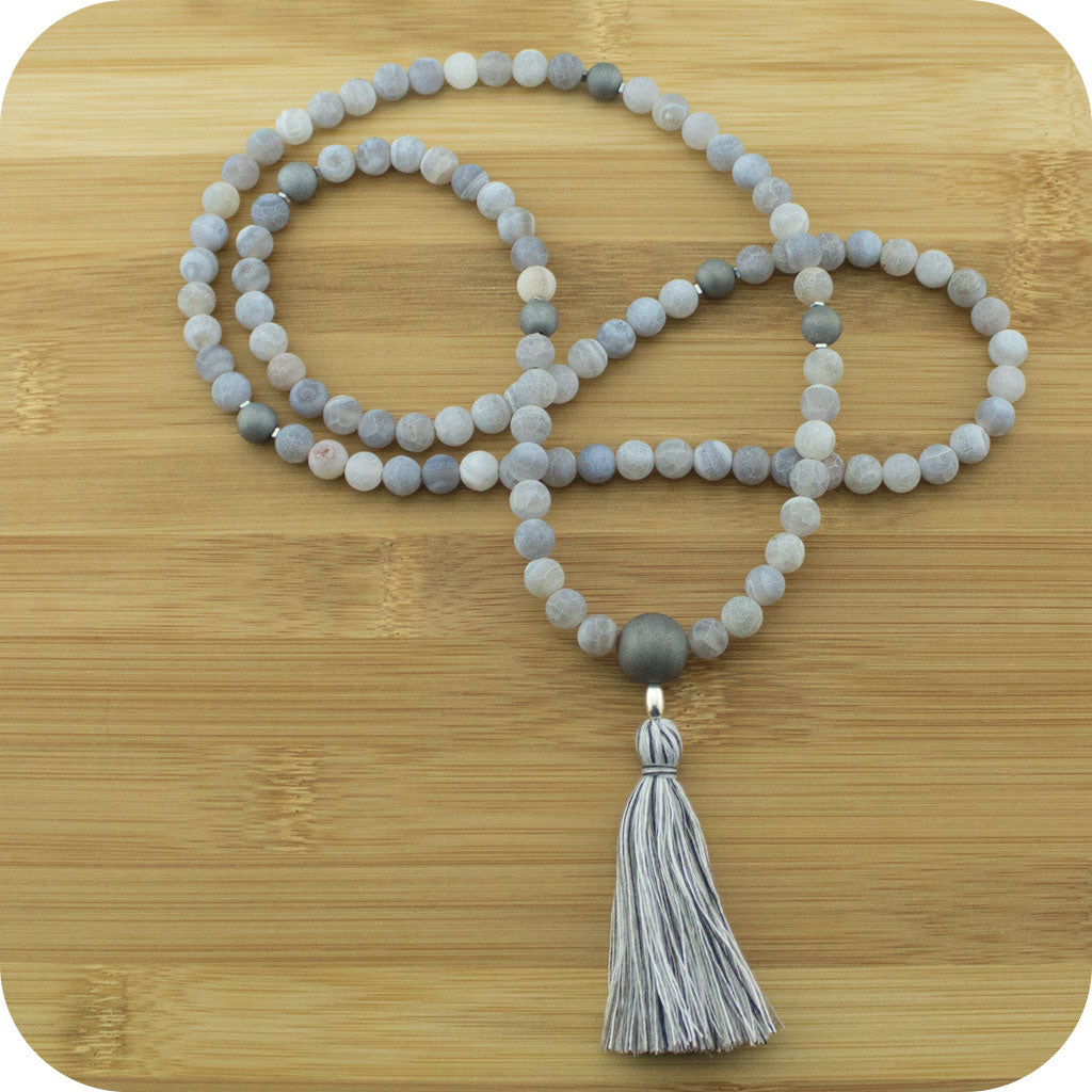 Matte White Fire Agate Mala Beads Necklace with Matte Gray Druzzy Agate - Meditative Wisdom