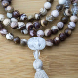 Picture Jasper Meditation Mala Necklace with Ice Crystal Quartz - Meditative Wisdom