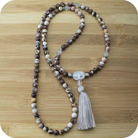 Picture Jasper Mala with Ice Crystal Quartz - Meditative Wisdom