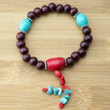 Rosewood Wrist Mala Bracelet with Turquoise Magnesite & Red Bamboo Coral - Meditative Wisdom