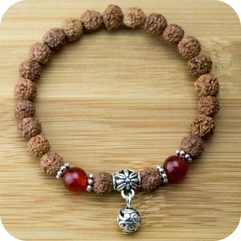 Rudraksha Wrist Mala Bracelet with Red Agate and Silver - Meditative Wisdom