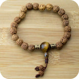 Rudraksha Wrist Mala Bracelet with Tigers Eye and Etched Brass - Meditative Wisdom