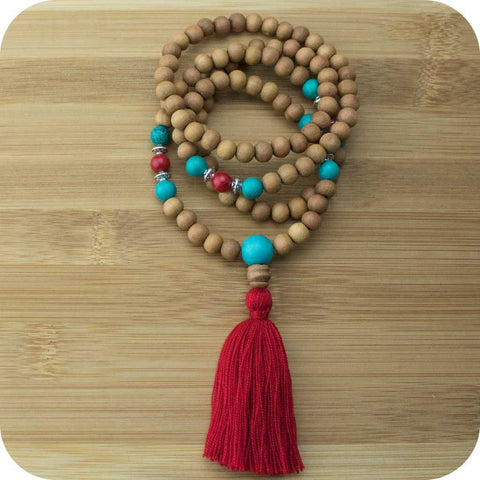 Sandalwood Mala Beads Necklace with Turquoise Howlite & Red Bamboo Coral - Meditative Wisdom