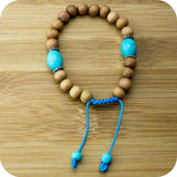 Sandalwood Yoga Beads Bracelet with Turquoise Magnesite - Meditative Wisdom
