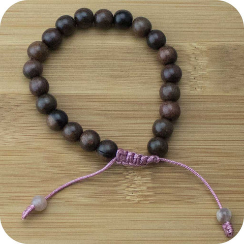 Tiger Ebony Wood Yoga Beads Bracelet with Peach Moonstone - Meditative Wisdom