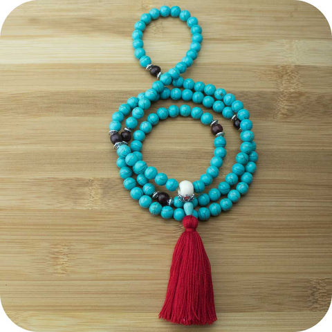 Turquoise Magnesite Mala Beads Necklace with Rosewood - Meditative Wisdom
