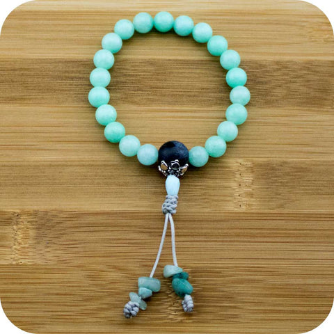 Amazonite Buddhist Mala Bracelet with Sodalite - Meditative Wisdom