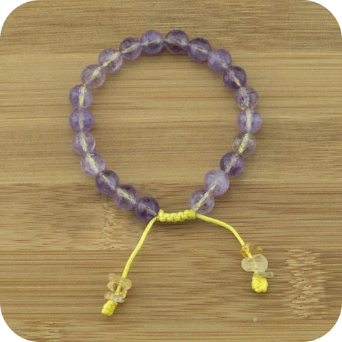 Faceted Ametrine Yoga Bead Bracelet with Citrine - Meditative Wisdom
