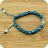 Apatite Yoga Beads Bracelet with Jadeite - Meditative Wisdom