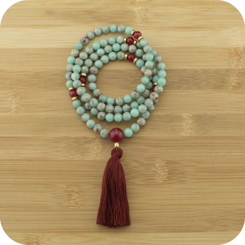 Aqua Terra Jasper Mala Beads Necklace with Red Aventurine - Meditative Wisdom