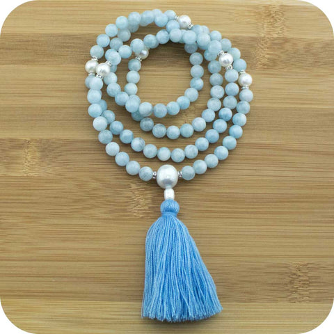 Aquamarine Mala Beads Necklace with Freshwater Pearl - Meditative Wisdom