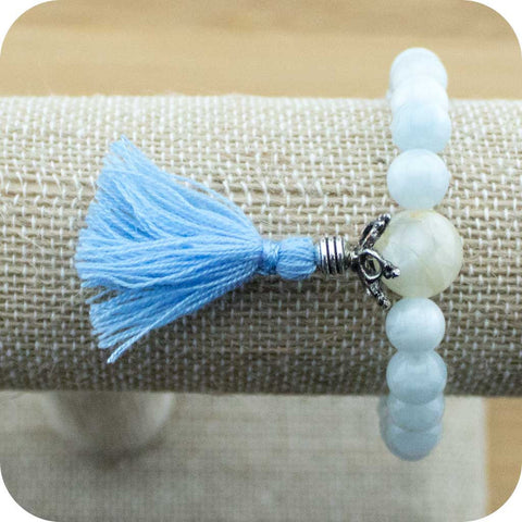 Aquamarine Wrist Mala Bracelet with Moonstone - Meditative Wisdom