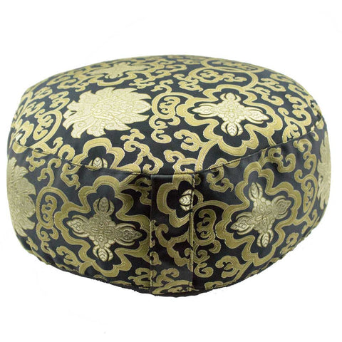 Black Meditation Cushion Zafu with Gold Lotus Brocade Design (Round) - Meditative Wisdom