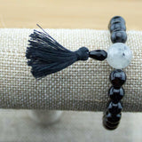 Black Sardonyx Agate Wrist Mala with Tourmilated Quartz Crystal - Meditative Wisdom