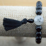 Black Sardonyx Agate Wrist Mala Bracelet with Tourmilated Quartz Crystal - Meditative Wisdom