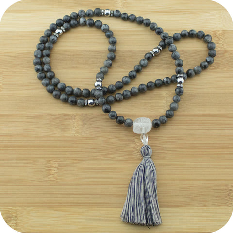 Black Labradorite Mala Necklace with Silver Hematite - Meditative Wisdom