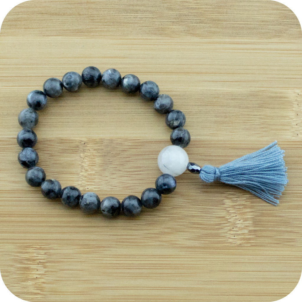 Black Labradorite Wrist Mala Bracelet (Larvakite) with Tourmilated Quartz Crystal - Meditative Wisdom