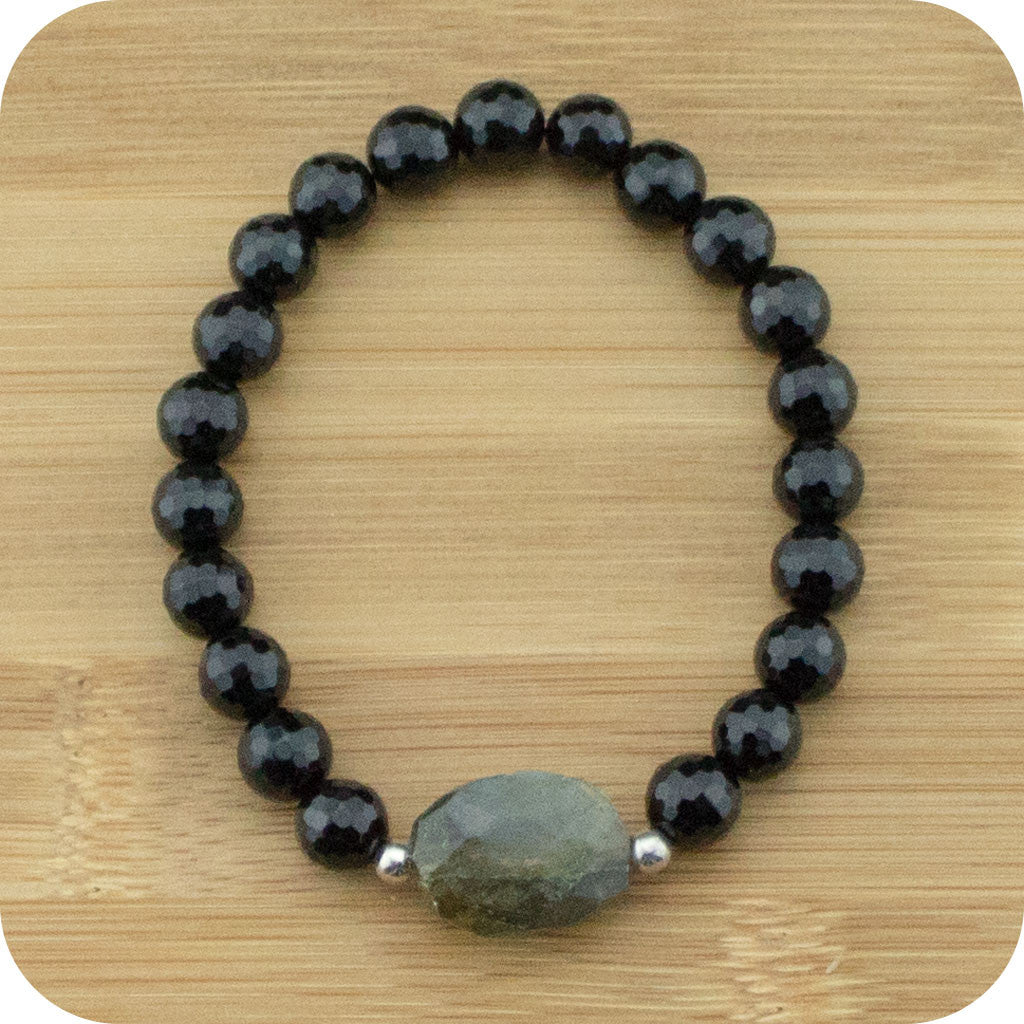 Faceted Black Onyx Wrist Mala Bracelet with Faceted Labradorite - Meditative Wisdom