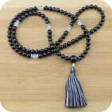 Black Sardonyx Agate Mala Bead Necklace with Black Onyx - Meditative Wisdom