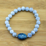 Blue Lace Agate Yoga Jewelry Bracelet with Lapis Lazui - Meditative Wisdom