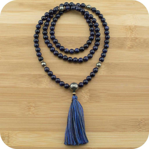 Blue Sandstone Mala with Golden Pyrite - Meditative Wisdom