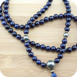 Blue Sandstone Meditation Mala Necklace with Golden Pyrite - Meditative Wisdom