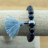 Blue Sandstone Wrist Mala Bracelet with Faceted Hematite - Meditative Wisdom