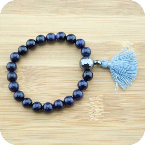 Blue Sandstone Mala Bracelet with Faceted Hematite - Meditative Wisdom