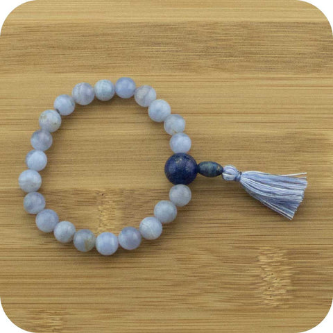 Blue Lace Agate Mala Beads Bracelet with Lapis Lazuli - Meditative Wisdom