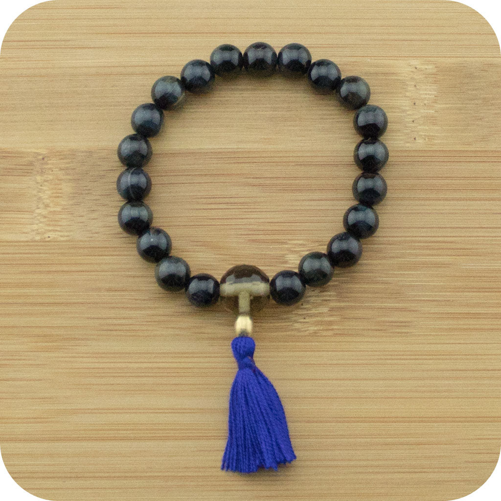 Blue Tigers Eye Wrist Mala Bracelet with Smoky Quartz - Meditative Wisdom