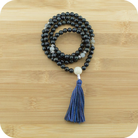 Blue Tigers Eye Mala Beads Necklace with Moonstone - Meditative Wisdom
