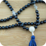 Blue Tigers Eye Meditation Beads with Moonstone