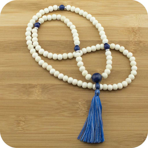 Bone Meditation Mala Necklace with Lapis Lazuli - Meditative Wisdom