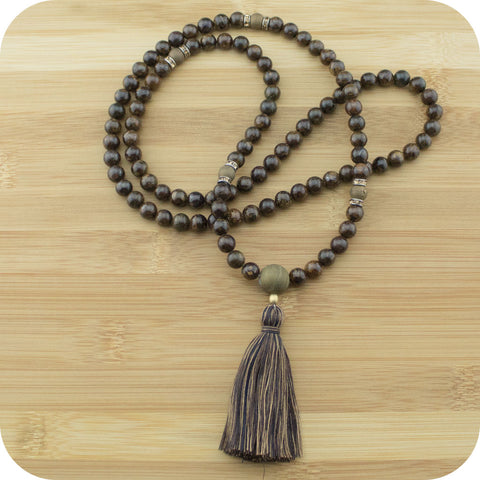 Bronzite Mala Beads Necklace with Bronze Druzzy Agate - Meditative Wisdom
