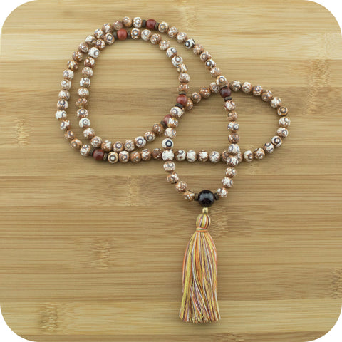 Brown & White Fire Agate Dzi Meditation Mala Beads Necklace with Red Garnet - Meditative Wisdom