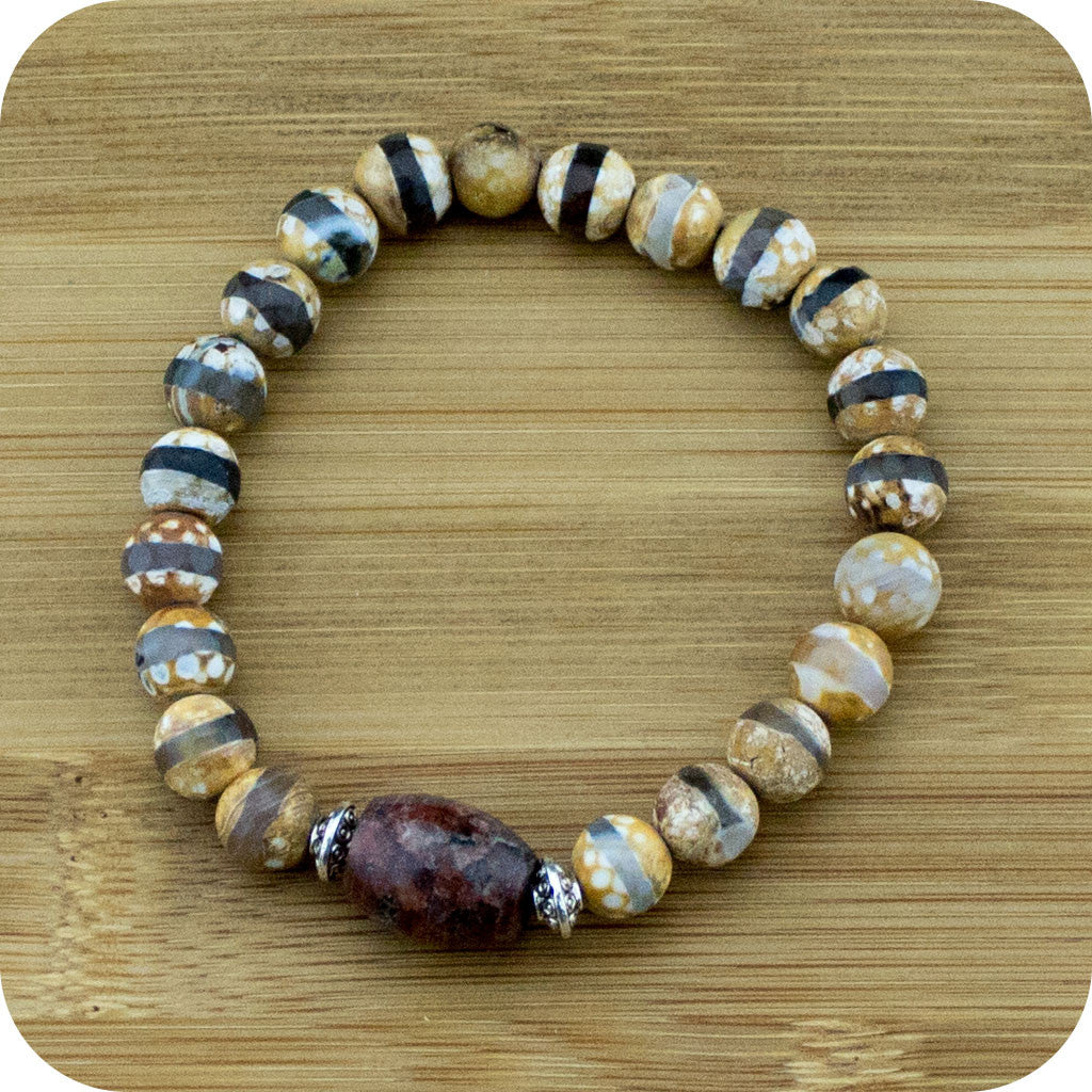 Faceted Brown & White Dzi Fire agate Wrist Mala Bracelet with Granite - Meditative Wisdom