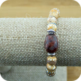Faceted Brown & White Dzi Fire Agate Yoga Jewelry Bracelet with Granite - Meditative Wisdom