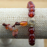 Carnelian Wrist Mala Bracelet with Antique Glass - Meditative Wisdom