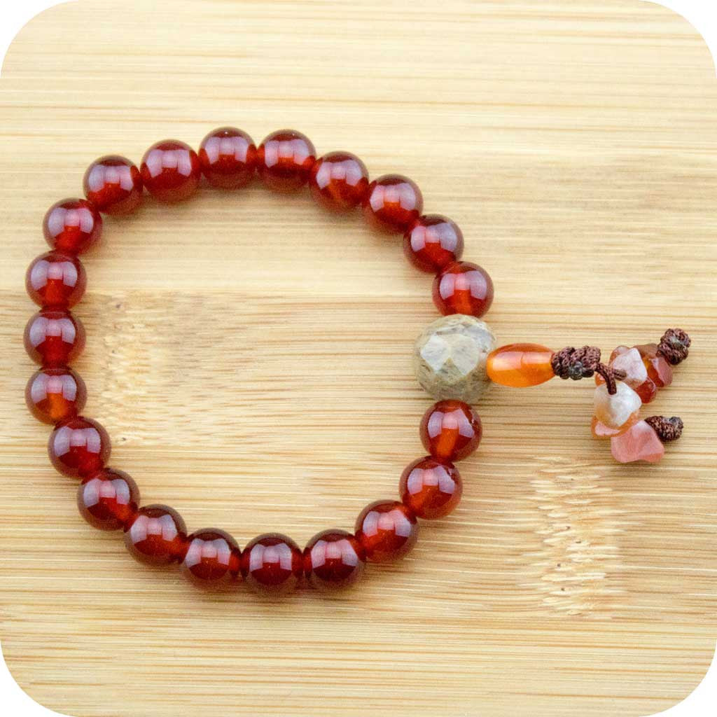 Carnelian Buddhist Mala Bracelet with Antique Glass - Meditative Wisdom