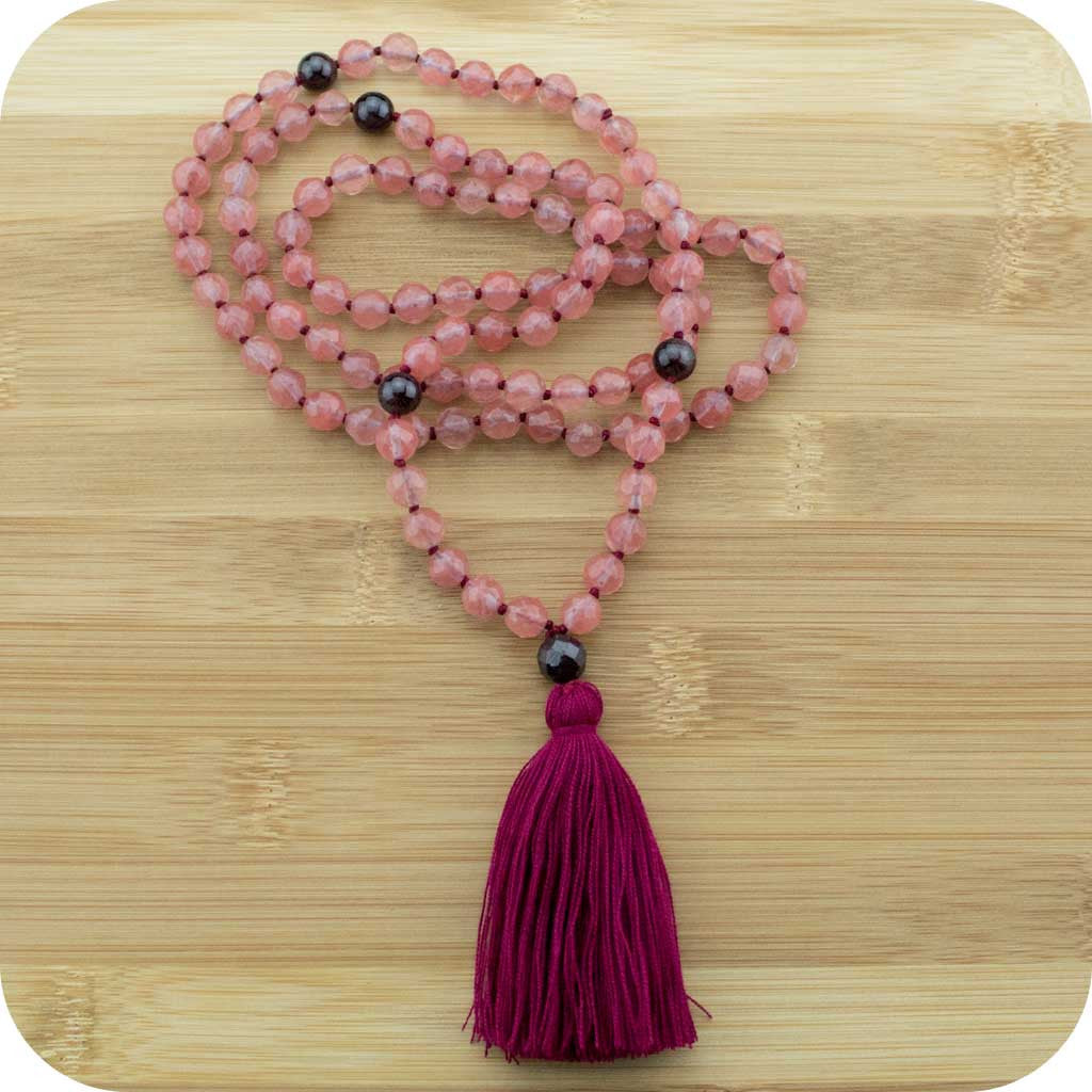 Knotted Cherry Quartz Crystal Meditation Mala Beads Necklace with Red Garnet - Meditative Wisdom
