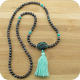 Chrysocolla Mala Beads Necklace with Turquoise Howlite - Meditative Wisdom