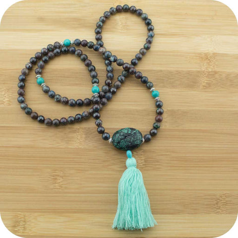 Chrysocolla Mala with Stabilized Turquoise - Meditative Wisdom